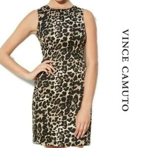 Vince Camuto Leopard Cheetah Fitted Sheath Dress 4